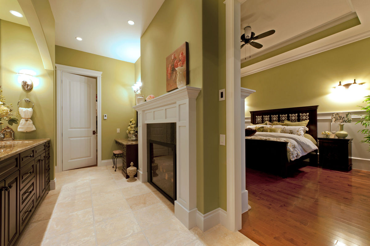 Double sided fireplace for the bedroom and bathroom